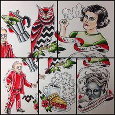 Twin peaks tattoo flash Done by Shannon Reed / Norfolk, VA / Instagram : shannonreedtattoo