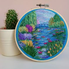 Advanced Embroidery, Hand Embroidery Stitches, Modern Embroidery, Embroidery Art, Embroidery Patterns, Simple Embroidery, Thread Painting, Thread Art, Monet Water Lilies