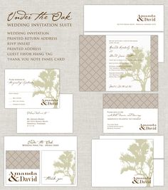 Wedding Invitation in sage green & khaki with oak tree, Under the Oak Tree Suite. $280.00, via Etsy.