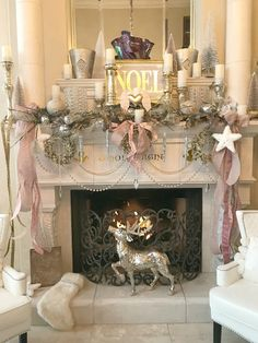 Great Room Christmas Tour 2017 - Purple Chocolat Home Sleigh Lamp ! Rose Gold Christmas Decorations, Elegant Christmas Trees, Classy Christmas, White Christmas, Victorian Christmas, Vintage Christmas, Purple Christmas Tree, Shabby Chic Christmas, Christmas Fireplace