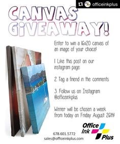 All you night owls still have a chance!  #Repost @officeinkplus: Canvas Giveaway! Here's what you do to be entered to win a 16x20 canvas of your choice!  1. Like this post on our Instagram page  2. Tag a friend in the comments  3. Follow us on Instagram @officeinkplus  Winner will be chosen a week from today on Friday August 26th! #tcmpartners #thecitymenus #carrolltonretail