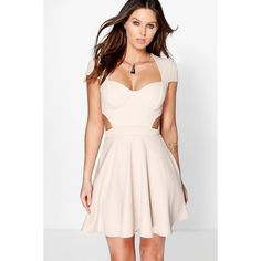Boohoo Night Brooke Sweetheart Bodice Cut Out Skater Dress (285 SEK) ❤ liked on Polyvore featuring dresses, stone, sequin bodycon dress, skater dress, sequin cocktail dresses, pink skater dress and sequin dress