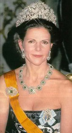 Queen Silvia of Sweden in the Braganza tiara. If you're going to wear a tiara - you might as well do it like you mean it.