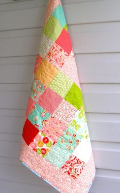 Baby Girl Quilt baby girl patchwork quilt pink by BlackTulipQuilts, $150.00