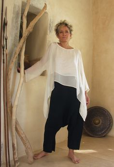 loose fit top made of white silk veil  white linen / viscose harem pants