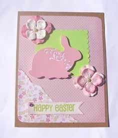 Happy Easter Shabby Chic Easter Greeting Card, via Etsy.