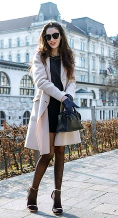 Here is a chic and sexy transitional party outfit you can wear for ladies night out - a little black dress, coat, polka dot tights and sandals - check here London Fashion Bloggers, Fall Fashion Trends, Autumn Fashion, Pink Outfits, Date Outfits, Night Outfits, Stylish Outfits, Polka Dot Tights, Patterned Tights