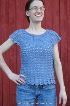ABC Knitting Patterns - Scalloped Summer Top - free S/M/L crochet pattern by Elaine Phillips. Cotton dk yarn.