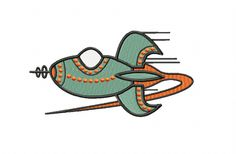 RETRO Rocket ~ Machine Embroidery Design in 2 sizes - Instant Download ~ Futuristic Jestons Style Rocket by TedandFriends on Etsy
