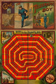 "Game of the Telegraph Boy -- ""Game of the Telegraph Boy was one of many games from the that depicted the American capitalist dream of Horatio Alger's novels. Old Board Games, Vintage Board Games, Old Games, Game Boards, Board Game Design, Antique Toys, Antique Art, Paper Toys, Old Toys"