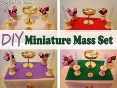 diy miniature mass set for catholic kids Catholic Catechism, Catholic Mass, Catholic Icing, Catholic Crafts, Church Crafts, Craft Kits For Kids, Activities For Kids, Teaching Religion, Religious Education