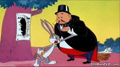 """Merrie Melodies - Bugs Bunny - Case Of The Missing Hare Bugs Bunny matches wits with a magician named Ala Bahma. Includes Bugs' Groucho Marx inspired line """"Of course you realize this means war!"""" And boy does he mean it! Looney Tunes Characters, Looney Tunes Cartoons, Classic Cartoon Characters, Old Cartoons, Classic Cartoons, Kids Cartoon Shows, Cartoon Gifs, Animated Cartoons, Magic Comedy"""
