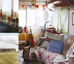 Nautical Decor in a Beach Shack. Hanging Boat on Ceiling, Nautical Flags and more: http://beachblissliving.com/shabby-chic-rustic-beach-cottage-shack/