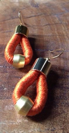 CLEMENTINE MINI - Spicy Orange Mini Cotton Thread Wrapped Rope Earrings - Modern African Tribal Statement on Etsy Rope Jewelry, Tribal Jewelry, Jewelry Crafts, Denim Earrings, Fabric Earrings, Textile Jewelry, Fabric Jewelry, Incredible Gifts, Bracelet Tutorial