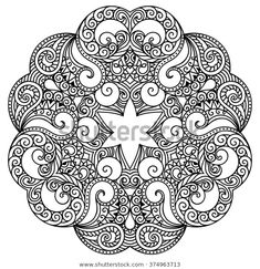 Vector de stock (libre de regalías) sobre Circular Pattern Form Mandala Henna Mehndi374963713 Henna Mehndi, Mehndi Tattoo, Adult Coloring, Coloring Books, Coloring Pages, Colouring, Trippy Drawings, Tattoo Drawings, Oriental Fashion