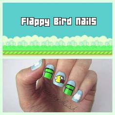 Flappy Bird Nails. Instagram photo by @cutepolish via ink361.com {me: never played it or any game besides bejeweled still cute tho}