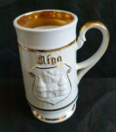 Vintage Latvia Riga USSR Mug white gold plate goldplated