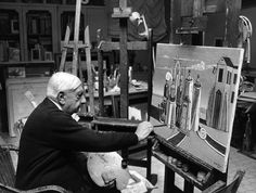 Giorgio de Chirico at his studio in Rome, 1974
