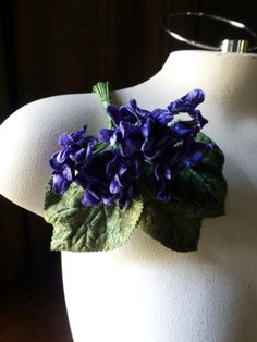 Velvet Millinery Violets in Deep Blue Violet for  Bridal, Boutonnieres, Neo Victorian, Steampunk, Millinery, Corsages MF200