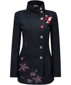"""Add striking sweetness to your look with this beautiful coat. The heavy embroidery adds a funky vibe while a cute butterfly corsage keeps it poised and pretty. A great choice for everyday loveliness. Approx Length: 75cm Our model is: 5'7"""""""