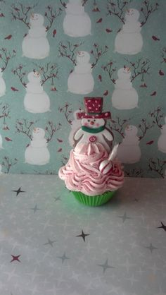Christmas Fake Cupcake with Snowman Cookie for Photo Props Holiday Decorations, Shop Displays, Home Decor, Secret Santa Gifts by FakeCupcakeCreations on Etsy