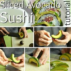 An easy-to-follow step-by-step photo tutorial for homemade avocado-wrapped sushi. Rolling simple sushi rolls in avocado is easy, impressive, and delicious!