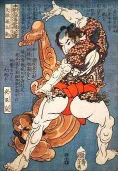 Tengan Isobyöe (lutteur de Sumo au corps tatoué met à terre un célèbre lutteur…