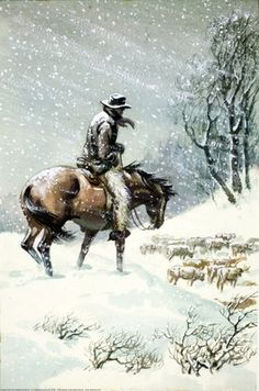 The grim, hard life of a cowboy in winter ~ Illustrator,  F. Humphris.