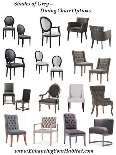 grey, silver , velvet, leather, chic, dining chair options