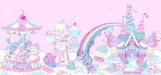 Paisajes Kawaii animados con norias de cupcakes.