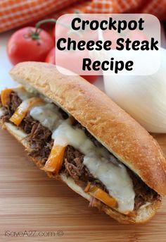 Check out this EASY Crockpot Cheese Steak Recipe! A good amount of ingredients put together in a simple way! You don't want to miss out!