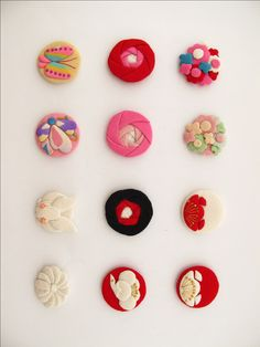 Japanese Embroidery Kimono buttons made from Kimono fabric gorgeous - Japanese Embroidery, Japanese Fabric, Japanese Kimono, Textile Jewelry, Fabric Jewelry, Jewellery, Cherry Blossom Petals, Diy And Crafts, Arts And Crafts