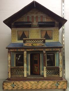 Bliss labeled Victorian dollhouse paper lithoed two rooms paper interior #Bliss