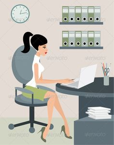 Secretary at Office #GraphicRiver Vector illustration, color full, no gradient, no mesh. Created: 12March12 GraphicsFilesIncluded: JPGImage #VectorEPS #AIIllustrator Layered: No MinimumAdobeCSVersion: CS Tags: assertive #attractive #base #bookshelf #box #business #cabinet #charming #computer #desk #document #dossier #file #folder #furniture #interior #laptop #management #office #paperwork #pen #positive #practical #secretary #shelf #sits #table #watches #woman #work