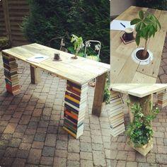#DIY Desk Of Europaletts An Books #upcycling #pallets Doityourself  Schreibtisch Aus Paletten Und