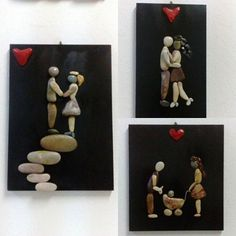 Oh honey, ours has been a real love story. Like a black and white film scenario. Photo from arzukonan_arthome No photo description available. Stone Crafts, Rock Crafts, Diy And Crafts, Arts And Crafts, Pebble Stone, Pebble Art, Stone Art, Diy Tableau, Art Projects