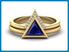Blue Sapphire Geometric ring, 14k Yellow Gold Triangle rings, Engagement and Wedding set - Wedding and engagement rings (*Amazon Partner-Link)