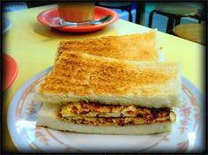 "Corned beef & Egg sandwich at a locak ""Cha Cha Teng"" #food #hongkong"