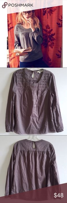 Boden Taupe Long Sleeve Top Boden Grey (Taupe) Tunic. So pretty! A forgiving flowy fit. Size 10. Excellent, Like New Condition! No rips, tears, stains. No Trades! All Reasonable Offers Accepted! Boden Tops
