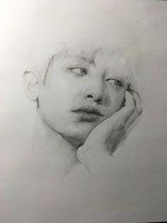 Thien Tuyet~ Baekhyun Fanart, Kpop Fanart, Exo Chanyeol, Exo Anime, Human Sketch, Exo Fan Art, Kpop Drawings, Anime Sketch, Colorful Drawings