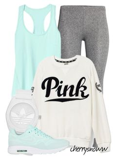 """I wish I was that sporty chick but it's all up to me - Please see my profile for more awesome looks :)"" by cherrysnoww ❤ liked on Polyvore featuring H&M, Athleta, Victoria's Secret PINK, adidas and NIKE"