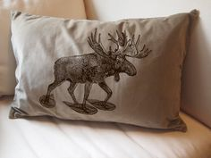 snowshoeing moose pillow