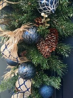 Christmas Teardrop Swag For Front Door Navy Blue Burlap-Front Door Wreaths-Elegant Christmas Teardrop Swag-Luxury Holiday Christmas Swag Welcome to PinkLimeWreaths and Thank you for stopping by! I made this beautiful Christmas teardrop swag in navy blue. I love the sharp, classic