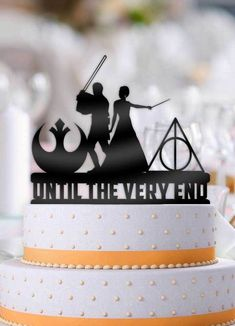 Star Wars Jedi and Harry Potter Mage Bride Until The Very End Wedding Cake Topper