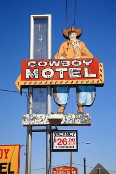 "Route 66 - Cowboy Motel sign on Rt. 66 In Amarillo, Texas. ""The Fine Art Photography of Frank Romeo."""