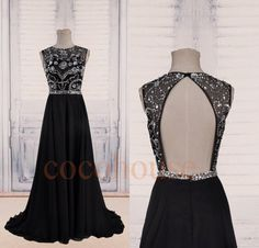 Silver Crystals Black Long Prom Dresses 2015, Open Back Evening Dresses, Homecoming Dresses, Hot Party Dresses, Wedding Party Dress