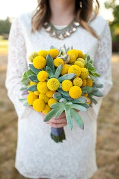 Top Wedding Ideas - rustic wedding bouquet with yellow billy balls and succulents Wedding Flower Guide, Yellow Wedding Flowers, Flower Bouquet Wedding, Wedding Colors, Wedding Ideas, Billy Balls, Wedding Flower Arrangements, Floral Arrangements, Bouquet Succulent