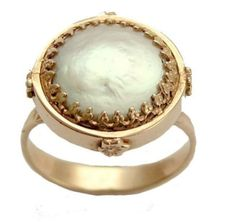 Mabe Pearl Engagement Ring Etsy