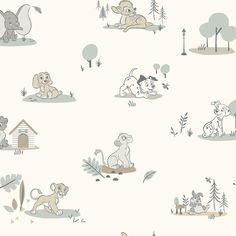 DISNEY BABY ANIMALS PEEL & STICK WALLPAPER - taupe, gray / 1 roll - 18 inches wide x 18.86 feet