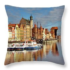 """Summer in Gdansk Throw Pillow by Ren Kuljovska.  Our throw pillows are made from 100% spun polyester poplin fabric and add a stylish statement to any room.  Pillows are available in sizes from 14"""" x 14"""" up to 26"""" x 26"""".  Each pillow is printed on both sides (same image) and includes a concealed zipper and removable insert (if selected) for easy cleaning. Design Art, Graphic Design, Decor Ideas, Gift Ideas, Pin Pin, Photography Awards, Pillow Sale, Travel Photographer, Basic Colors"""